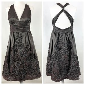 Tafetta cocktail dress with ribboned embellishment